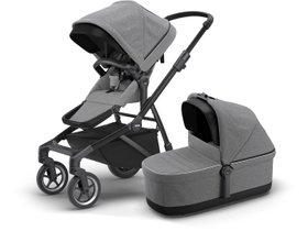 Детская коляска с люлькой Thule Sleek (Black/Grey Melange)